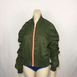 Hunter ruched sleeve olive green bomber S
